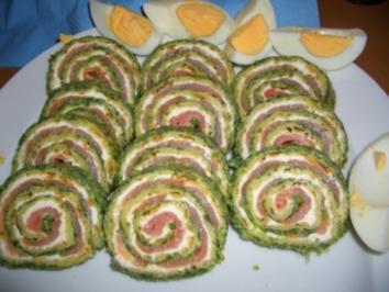 Lachsrolle mit Spinat und Frischkäse - Rezept