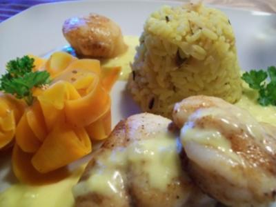 Lotte & Jakobsmuschel an Vanille-Karotten-Nudeln mit Mandelreis - Rezept