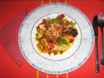 Putenschnitzel mit Ratatouille überbacken - Rezept