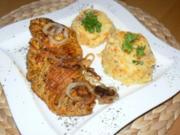 Kartoffel-Möhrenpüree mit marinierten Putenschwenker und gerösteten Zwiebelringen - Rezept