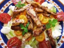 Salatteller mit Kumquat und gebratener Putenbrust - Rezept