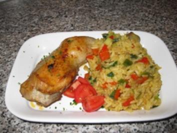 Hähnchenkeulen mit Curry-Paprika-Reis... - Rezept