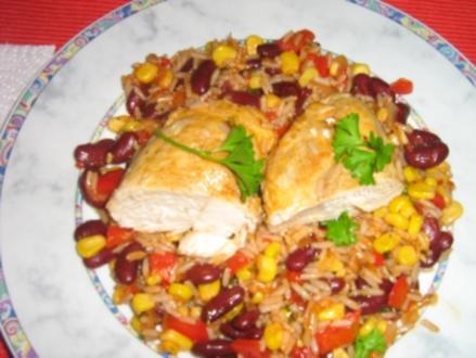 Chili-Hähnchen auf Gemüsereis - Rezept