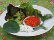 Tatar vom Wildlachs auf Salatbouquet - Rezept