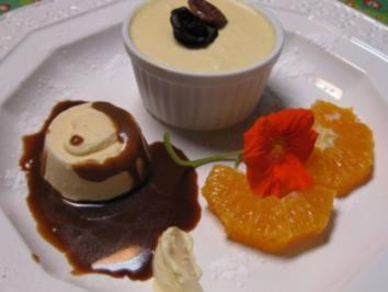 Likör-Eis-Soufflee mit Orangen-Karamellsoße - Rezept