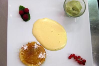 Rezept: Dreierlei vom Apfel – Calvadosschaum, Apfelsorbet und Apfeltarte