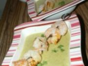Broccolisuppe mit Krabben und gebratenen Garnelen - Rezept