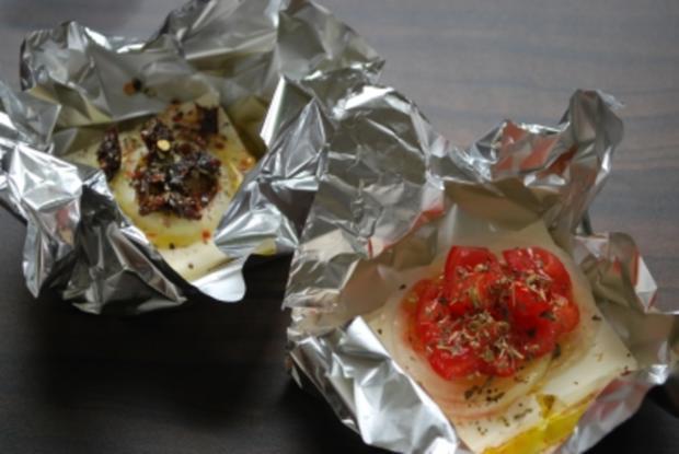 Schafskäsepäckchen vom Grill - Rezept