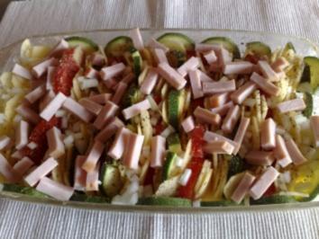 Kartoffelauflauf mit Tomaten,Zucchini und Puten Kasseler - Rezept