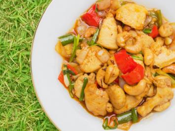 Rezept: WOK - Hühnergeschnetzeltes mit Pak Choi und Cashews