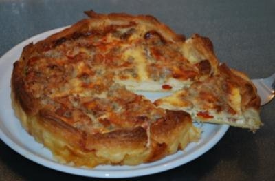 Tomatenquiche mit Gorgonzolaguss - Rezept