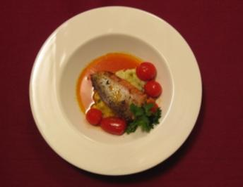 Edelfisch auf Paprikacoulis und Kartoffel-Avocado-Püree - Rezept