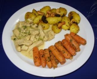 Putengeschnetzeltes mit Kartoffelchen und Babykarotten - Rezept