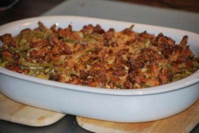 Filet-Pfifferling-Gratin mit grünen Bohnen - Rezept