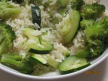 Grünes Gemüse mit Reis - Rezept
