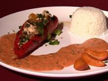 Spitzpaprika mit Huhn, Aprikose und Reis - Rezept
