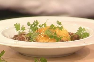 Rezept: Pfefferpotthast mit Kartoffel-Safran-Flan a la Baudrexel