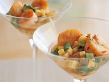 Jacobsmuscheln mit Mango und Avocado - Rezept