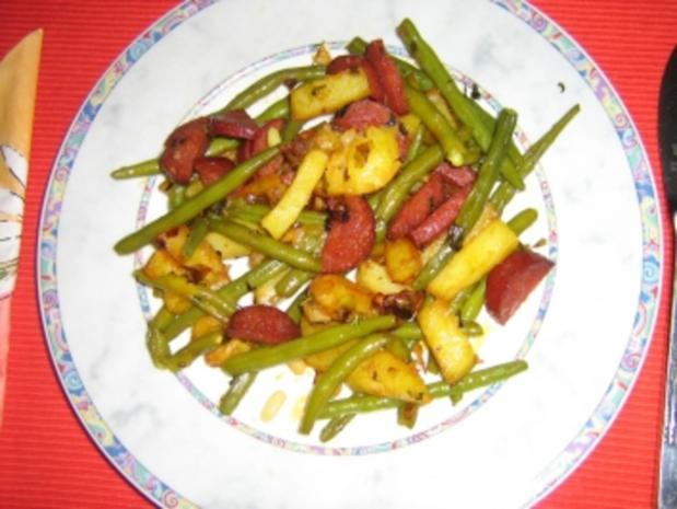 Kartoffel-Bohnen-Pfanne mit Chorizo - Rezept