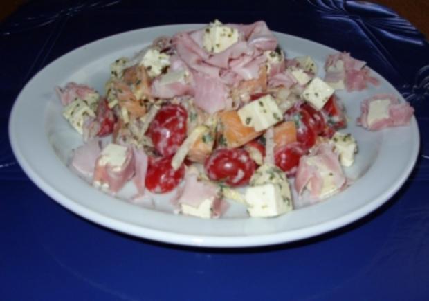 tomaten chicoree melonen schinken feta salat rezept. Black Bedroom Furniture Sets. Home Design Ideas