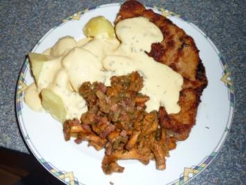 Schnitzel mit Pfifferlinge,Salzkartoffeln und Sauce Hollandaise - Rezept