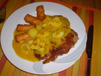 Schnitzel in Curry - Sahne - Soße mit Litschi - Rezept