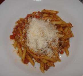 Penne Rigate mit Paprika-Tomaten-Sugo - Rezept