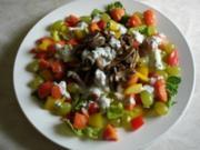 Salatteller mit Champignons, Papaya und Weintrauben - Rezept