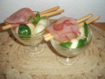 Parmaschinken mit Melonenkugeln - Rezept