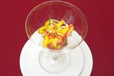 Krebssalat mit Mango und Bowle - Rezept