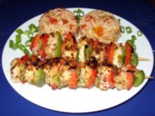 Gebratene scharfe Puten-Paprika-Spieße mit Tomaten-Lauchzwiebel-Reis - Rezept