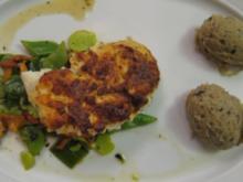 Kabeljau mit Pestokruste mit Sommergemüse, Oliven-Kartoffelpüree und Weißweinsoße - Rezept