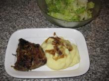 Rinderleber mit Kartoffelpüree und Salat..Bilder sind dabei - Rezept