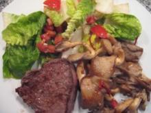 Salat mit Austernpilzen und Jungbullensteak - Rezept