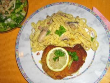 Cordon Bleu mit Tagliatelle in Champignon-Sauce - Rezept