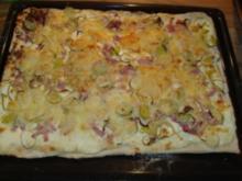 Pizza-Schmand -Lauch- Käse- Schinken - Rezept