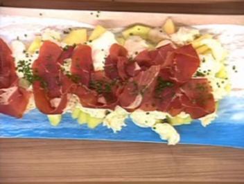 Melone und Büffelmozzarella mit Parmaschinken - Rezept