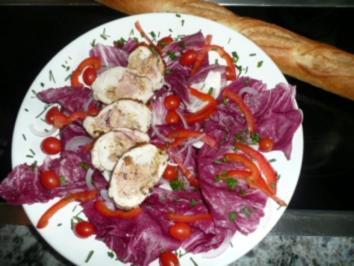 BEILAGE/SALAT:Gefülltes Hähnchenbrustfilet mit Thunfischcreme zu Salat - Rezept