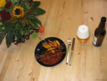 Rindsschaschlik ungarisch mit Wedges - Rezept