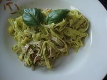 Spagetti mit Pesto, Rahm und Schinken - Rezept - Bild Nr. 466