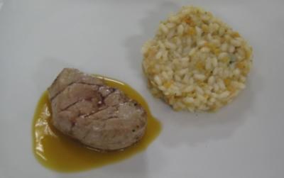 Schweinefilet an Orangen-Chilisoße und Linsenrisotto - Rezept
