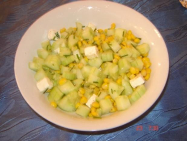 Gurken - Feta Salat - Rezept