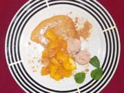 Flambierte Mango mit Whiskey-Cream-Zabaione und Amarettini-Crunch - Rezept