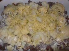 Pizzakatzes Rinderhack-Blumenkohl-Vollkornnudel-Auflauf - Rezept
