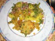 Lamm-Medaillions gratiniert, an Bohnen-Kartoffel-Gemüse - Rezept