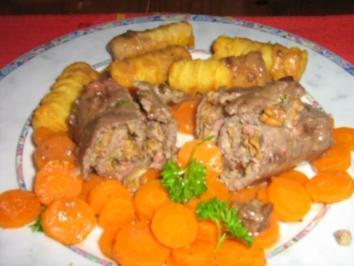 Rezept: Roulade mit Pfifferlingen auf Karottengemüse