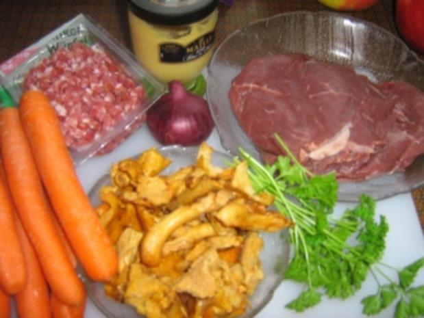 Roulade mit Pfifferlingen auf Karottengemüse - Rezept - Bild Nr. 3