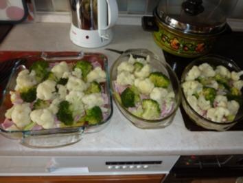 Rezept: Kartoffel-Broccoli-Blumenkohl-Gratin