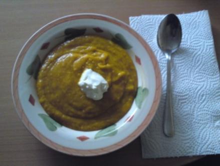 Kürbis - Creme fraiche Suppe - Rezept