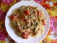 Spaghetti mit grünen Bohnen und Tomaten - Rezept